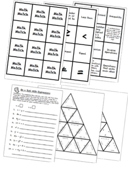 BUNDLE Expressions and Equations Math Stations for Common Core Sixth Grade