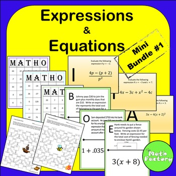 Expressions and Equations Mini Bundle #1