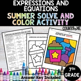 Expressions and Equations No Prep Solve and Color Activity