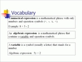 Expressions and Equations Pack