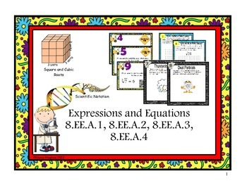 Expressions and Equations:  8.EE.A.1  through 8.EE.A.4