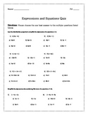 Expressions and Equations Quiz 1