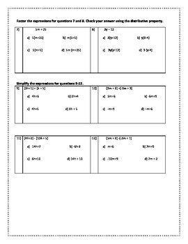 Expressions and Equations Quiz 2