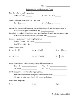 Expressions and Equations Quiz