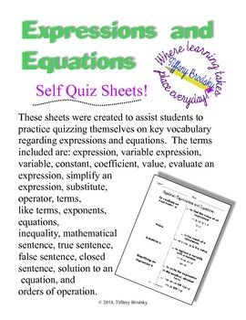 Expressions and Equations Self Quiz Sheets!