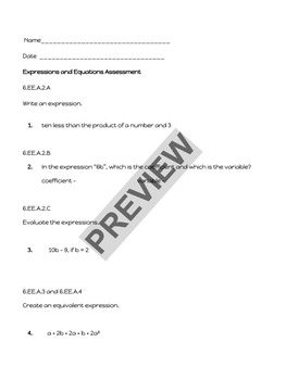Expressions and Equations Sixth Grade Assessment