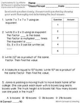 Expressions and Equations Standards Based Assessments & Item Analysis