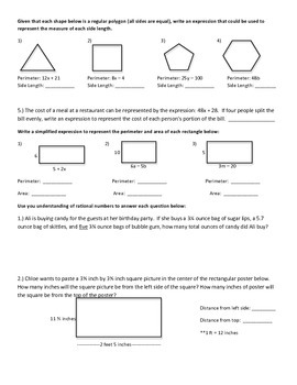Expressions and Equations Study Guide 7th Grade Math