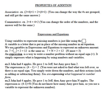 Expressions and Equations Study Guide MJ