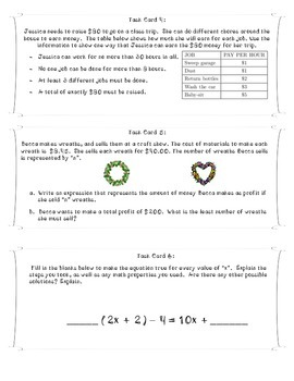 Expressions and Equations Task Cards 7th grade Common Core Aligned
