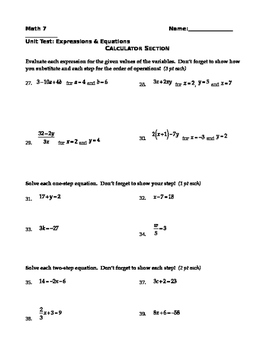 Expressions and Equations Test