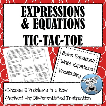 EXPRESSIONS AND EQUATIONS TIC-TAC-TOE ASSESSMENT
