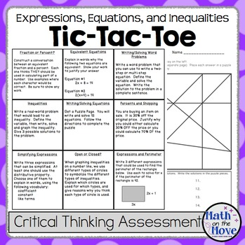Expressions, Equations and Inequalities - Tic-Tac-Toe Assessment
