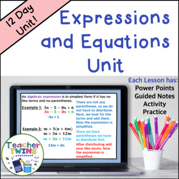 Expressions and Equations Unit Common Core 7 EE