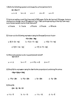 Expressions and Equations Unit Exam or Unit Review 7th Grade Math