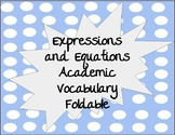 Expressions and Equations Vocabulary Foldable