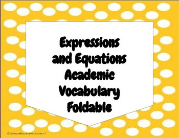 Expressions and Equations Vocabulary Foldable 7th