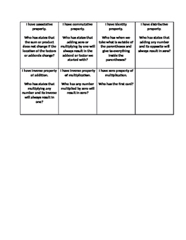 Expressions and Equations Vocabulary I Have Who Has Activity