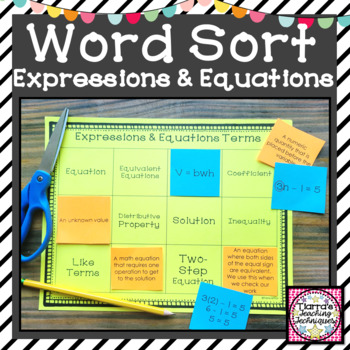 Expressions and Equations Vocabulary Word Sort