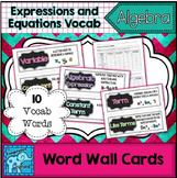 Expressions and Equations Vocabulary Word Wall Cards