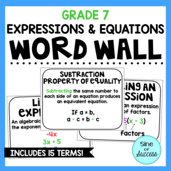 Expressions and Equations Word Wall - Grade 7