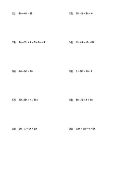 Expressions and Equations Worksheet