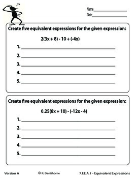 Expressions and Equations Worksheets - Common Core Style