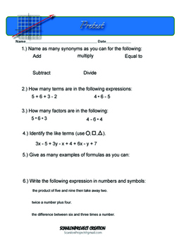 Expressions and Equations packet
