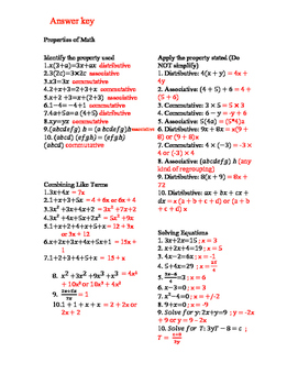 Expressions and Equations review/test prep