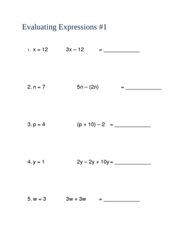 Expressions and Functions Worksheets - Editable