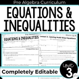 Equations and Inequalities Unit for Pre-Algebra