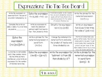 Expressions and Operations Tic-Tac-Toe