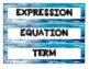 Expressions and Operations - WORD WALL (Math Literacy)
