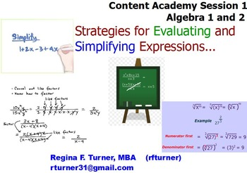 Expressions and Operations for Algebra 1 and 2
