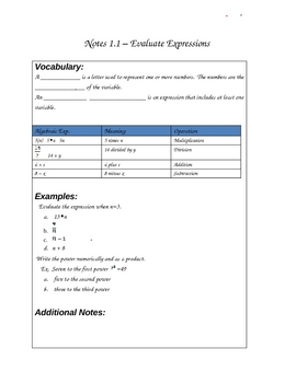 Expressions and Order of Operations Notes