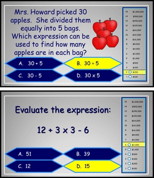 Expressions and Order of Operations Power Point Millionaire Game 5th Grade