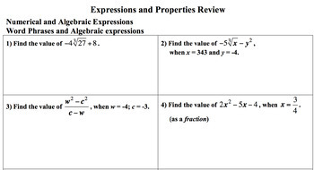 Expressions and Properties Review