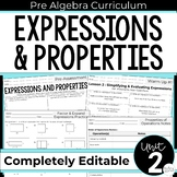 Expressions and Properties Unit for Pre-Algebra