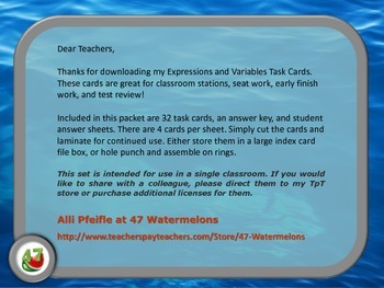 """Expressions and Variables Task Cards - """"Under the Sea"""""""