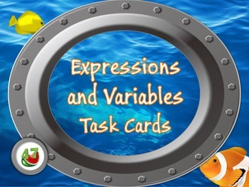"Expressions and Variables Task Cards - ""Under the Sea"""