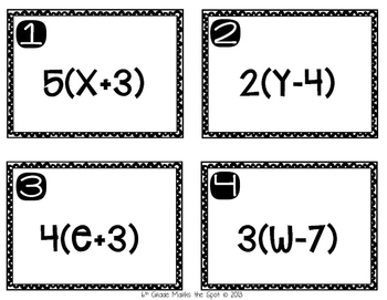 Expressions and the Distributive Property Task Cards CCSS 6.EE.3 Aligned**