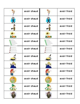 Expressions avec avoir French Verb Dominoes