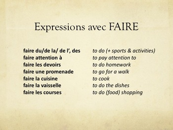 "Expressions avec ""faire"", speaking activity in French"