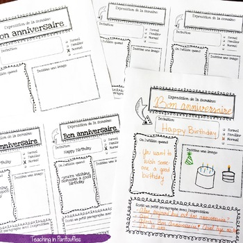 French Expressions of the Week: Vocab Graphic Organizers Vol. 1 (Half sheet)