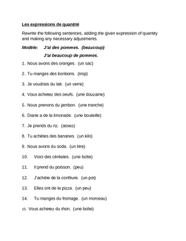 Expressions de quantité (Expressions of quantity in French) worksheet 1
