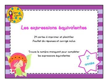 Expressions équivalentes - Cartes à tâches - 2e année