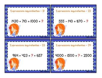 Expressions équivalentes - Cartes à tâches - 3e année