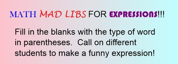 Expressions mad-libs smart notebook