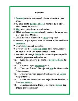 Expressions négatives et leurs contraires, jeu à trous, game in French