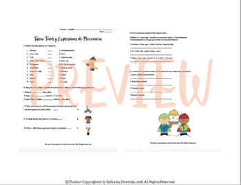 Expressions of Frequency and Tener Worksheet